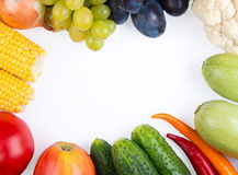 Vegetables: onions, peppers, cabbage, tomatoes, corn Stock Image