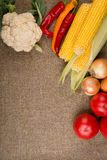Vegetables: onions, peppers, cabbage, tomatoes, corn Royalty Free Stock Image