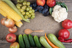 Vegetables: onions, peppers, cabbage, tomatoes, corn Royalty Free Stock Images