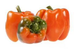 Vegetables of orange and green pepper isolated on white background. Vegetables of orange and green pepper isolated on white background Stock Images