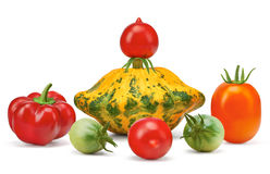 Vegetables, orange squash, red pepper, paprika, red, green tomatoes. Vegetables, colorful, orange squash pumpkin, red pepper, paprika, red and green tomatoes Stock Photography