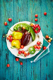 Vegetables from organic farming on a wooden rustic table Stock Photos