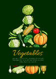 Vegetables and organic veggies vector poster Royalty Free Stock Image