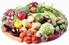 With vegetables in a oval. Isolated on white background Stock Images
