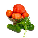 Vegetables in painted plate Stock Photography