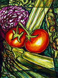 Vegetables painting. Fine art impressionist style painting of vegetables Stock Photography