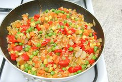 Vegetables in the pan Royalty Free Stock Images