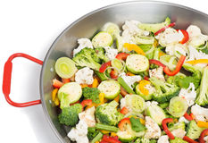 Vegetables in pan Stock Photography