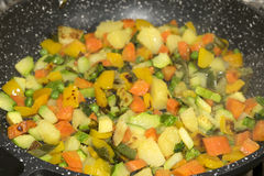 Vegetables in pan Stock Images