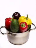 Vegetables in a pan. Red, yellow and green vegetables in a pan Royalty Free Stock Image