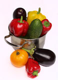 Vegetables in a pan. Red, yellow and green vegetables in a pan Stock Image