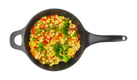 Vegetables in pan on white Stock Images