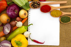 Vegetables and paper for notes Royalty Free Stock Photo