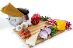 Vegetables with pasta in container Stock Photo