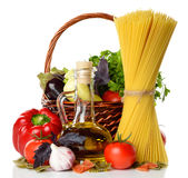Vegetables, pasta and olive oil Stock Image