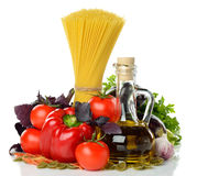 Vegetables, pasta and olive oil Royalty Free Stock Photography