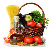 Vegetables, pasta and olive oil Stock Photography