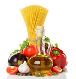 Vegetables, pasta and olive oil Royalty Free Stock Images