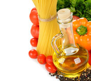 Vegetables, pasta and olive oil Royalty Free Stock Photos