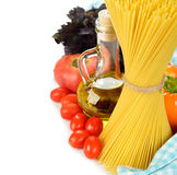 Vegetables, pasta and olive oil Stock Photo