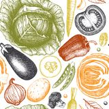 Healthy food vector background with ink hand drawn vegetables sketch. Vintage seamless pattern with fresh products. Organic food d. Rawing. Line art. Outlines vector illustration