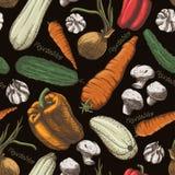 Vegetables pattern black Royalty Free Stock Photos