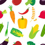 Vegetables pattern. Flat set of carrot, laminaria, pepper and cereal. Royalty Free Stock Photo