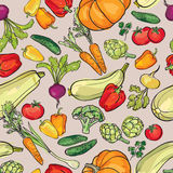 Vegetables pattern. Food ingredients seamless background. Royalty Free Stock Photo