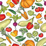 Vegetables pattern. Garden harvest seamless background. Royalty Free Stock Image