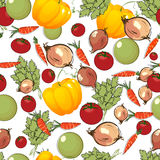 Vegetables pattern on white Royalty Free Stock Photos