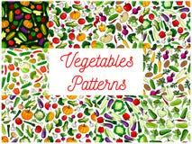 Vegetables patterns set. Vegetarian background Royalty Free Stock Image