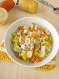 Vegetables with pearl barley and chicken Stock Photos