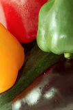 Vegetables. Pepper red and yellow, green, zucchini, eggplant, close photographed, vegetables Stock Photo