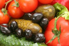 Vegetables and pickles. Close-up of fresh and pickled vegetables Royalty Free Stock Photos