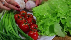 Vegetables on  plate stock video