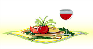 Vegetables on plate with glass of wine. Vegetables on plate with glass of red  wine Stock Photos