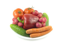 Vegetables on plate isolated over white Stock Image