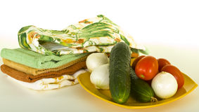 Vegetables on Plate with Kitchen Towels Stock Photos