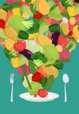 Vegetables on plate. Vegetable dish. Vegetarian food.  Royalty Free Illustration