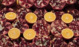 Pomegranate and Oranges Stock Image