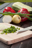 Vegetables. Preparing a meal with vegetables Royalty Free Stock Photos