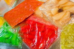 vegetables preserved in vacuum packed bags Royalty Free Stock Photos