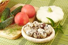 Vegetables and quail eggs Royalty Free Stock Photography