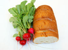 Vegetables radish and bread Stock Photo