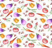 Vegetables radish mushroom scallion eggplant pepper carrot tomato seamless wallpaper. Tossed fresh mixed vegetables watercolor art colorful impressionist texture Royalty Free Stock Images