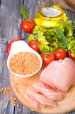 Vegetables, raw chicken and fresh lentils Stock Image