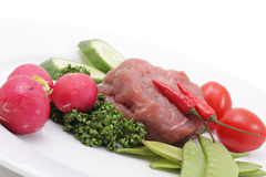 Vegetables and raw meat Royalty Free Stock Images