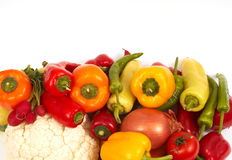 Vegetables ready. Vegetables on white, shot from top royalty free stock photos
