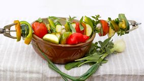 Vegetables ready for barbecue Royalty Free Stock Photo