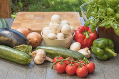 Vegetables are ready for cutting  on the wooden desk outdoors. Royalty Free Stock Images